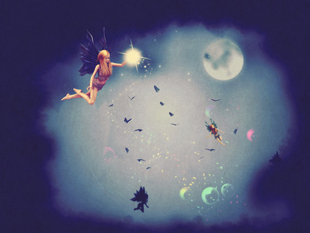 a legend of magic: Cute fairy with magic sparkling dust flying at night time.