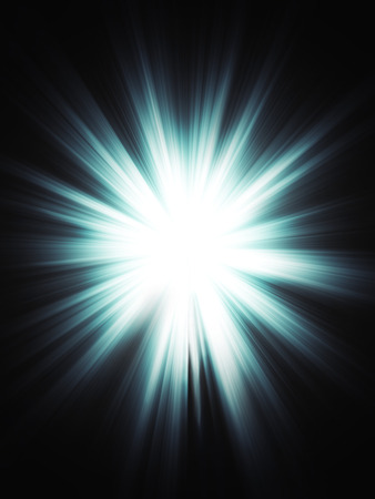 Bright blue light burst, explosion on dark background.