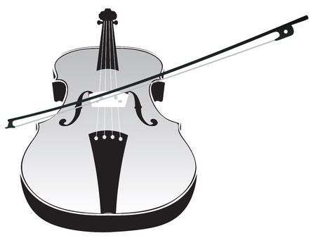 geigen: Klassische Musik Geige mit Geigenstock Silhouette auf wei�em Hintergrund. Illustration