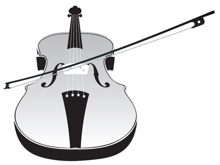 Classic music violin with fiddle stick silhouette on white background.