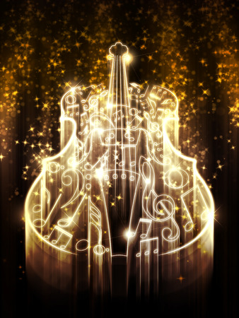 violin background: Violin silhouette made from music notes on background with glowing sparks.