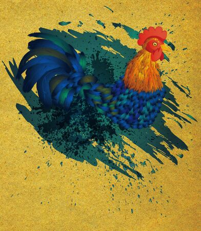 food fight: Colorful rooster illustration with grunge ink splatters on paper background.