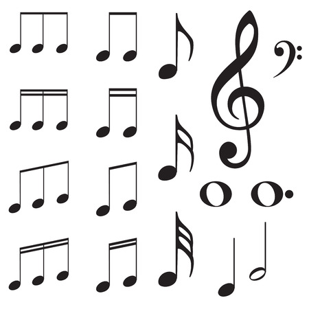 Set of music note silhouettes on white background. Vectores