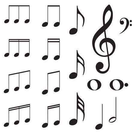 Set van muziek noot silhouetten op een witte achtergrond. Stockfoto - 41804858