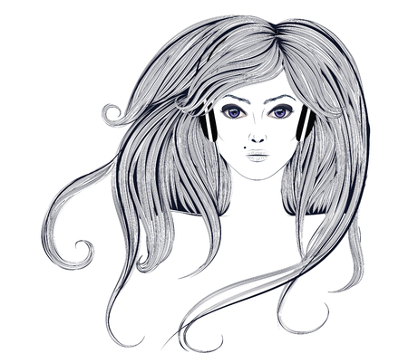 wavy hair: Grunge line art portrait of a woman with long wavy hair.