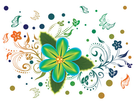 tropical flower: Colorful tropical flower and decorative floral ornament with butterflies.