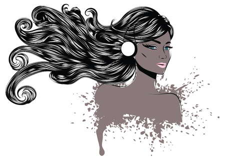 face with headset: Grunge line art portrait of a woman with long wavy hair.