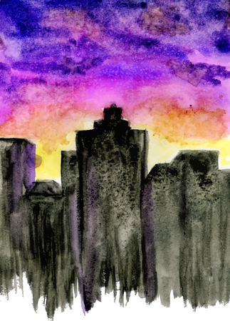 sunset sky: Watercolor painted background of city silhouette and purple sunset sky.