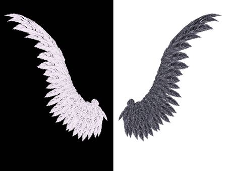 good and evil: White wing on black background and black wing on white, good and evil concept.