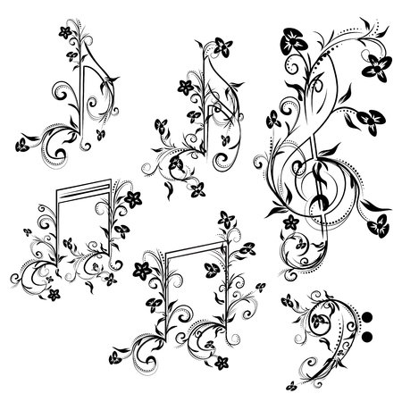 quarter note: Set of music notes with floral elements on white background.