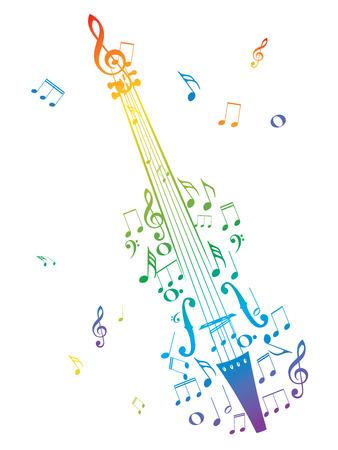 音楽の音符の中で創造的なヴァイオリンのシルエット。