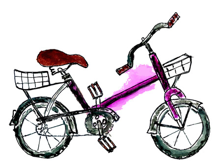velocipede: Watercolor painting of a colorful bicycle, hand drawn illustration.