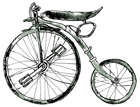 velocipede: Watercolor painting of a vintage bicycle, hand drawn illustration. Illustration