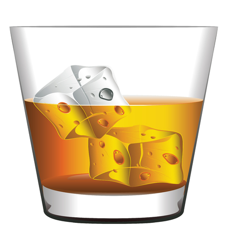 Glass of whiskey with ice cubes illustration.