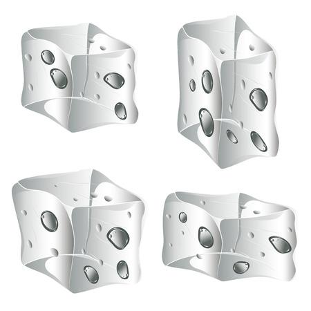 cubos de hielo: Conjunto de cubos de hielo opacos en el fondo blanco.