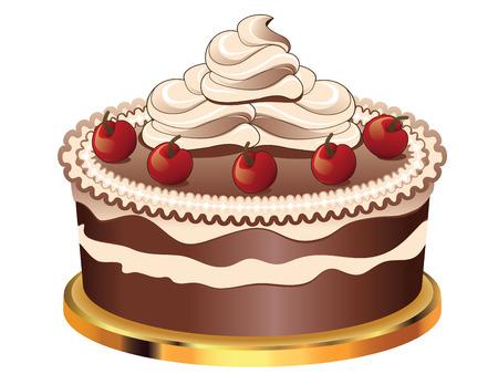 sweetmeats: Delicioso pastel de chocolate con decoraciones para d�as de fiesta en el fondo blanco.
