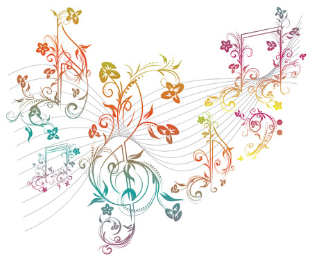 Set of music notes with floral elements on white background.