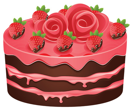 Délicieux gâteau au chocolat avec des décorations pour des vacances sur fond blanc.