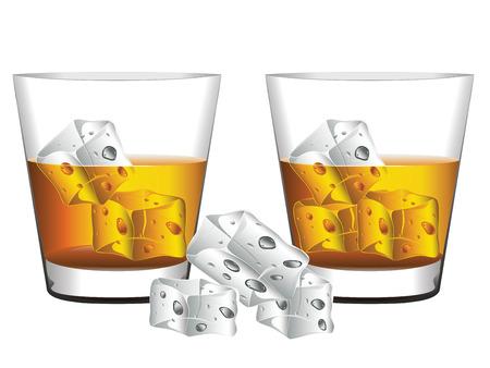 cubos de hielo: Vidrio de whisky con cubitos de hielo ilustraci�n.