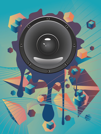 loud speaker: Illustration of audio loud speaker icon on abstract geometric background.