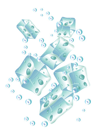 ice cubes: Set of opaque ice cubes on white background. Illustration