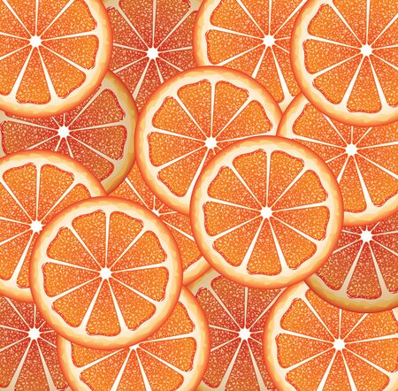 citrus fruit: Bright background with juicy grapefruit slices, citrus fruit slices. Illustration