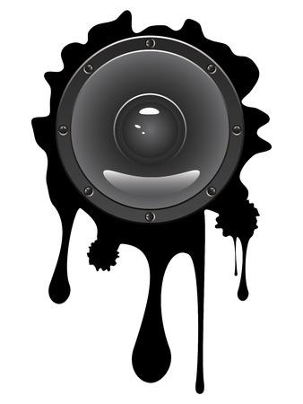 loud speaker: Illustration of audio loud speaker icon with ink splatter on white background. Illustration