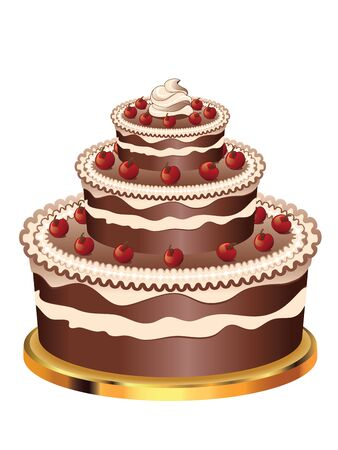 sweetmeats: Delicious chocolate cake with decorations for holidays on white background.