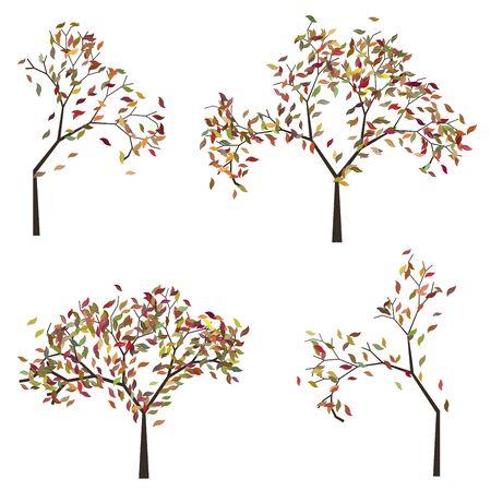 Abstrakte Stilisiert Baum Mit Bunten Blättern Zur Saison Herbst ...