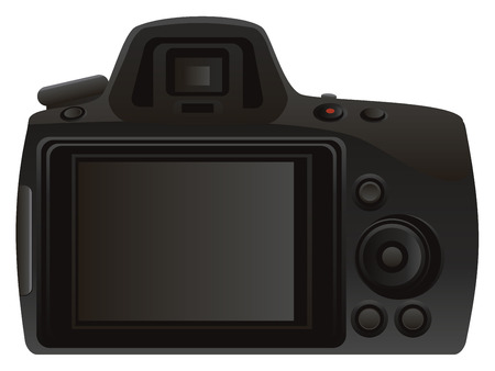rear: Digital photo camera rear view on white background.