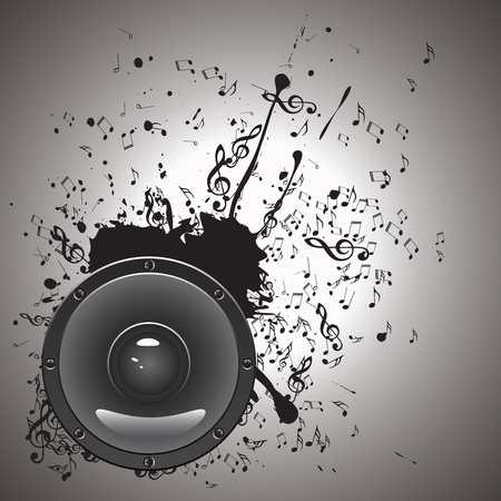 loud speaker: Grunge poster with audio loud speaker with music notes. Illustration