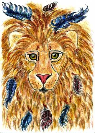 pencil drawings: Stylized hand drawing sketch of male lion head.