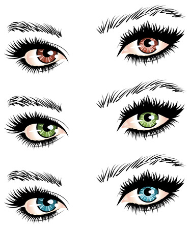 Illustration of womans eyes of different colors on white.