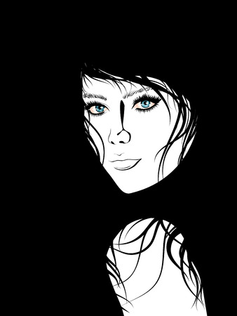 blue eyes girl: Simple black and white portrait of a girl with blue eyes. Illustration