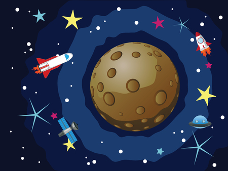 mercury: Cartoon space background with the Mercury and stars.