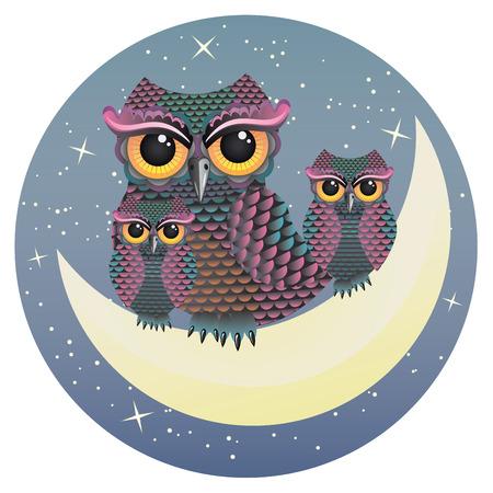 sowa: Matka i dwie sowy sowy dziecko siedzi na sierp księżyca.
