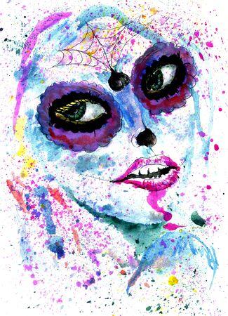 Halloween girl with sugar skull makeup, watercolor painting.
