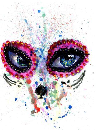 ceremonial makeup: Halloween girl with sugar skull makeup, watercolor painting.