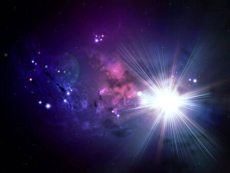 nebula: Colorful rich star forming nebula in open space background. Stock Photo