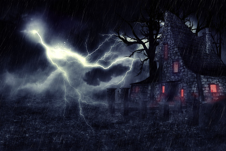 Dark mysterious halloween landscape with an old house. Stock Photo