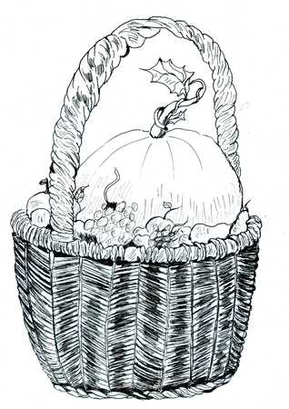 willow fruit basket: Hand drawn illustration of a wicker woven basket with vegetables and fruits. Stock Photo
