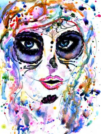 Halloween girl with sugar skull makeup, watercolor painting.