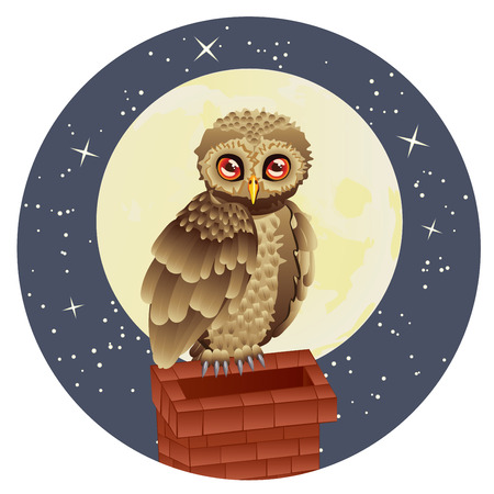 lullaby: Cute brown owl and big yellow moon with stars.