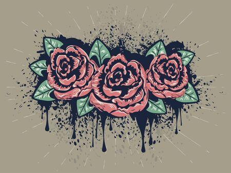 rose tattoo: Retro stylized roses with grunge splatters, sketch style illustration.