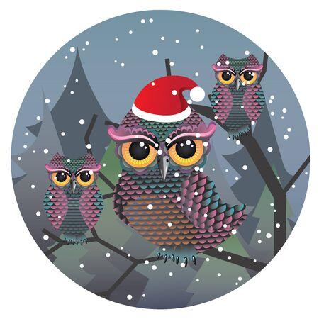 wears: Curious cartoon owl wears red Santa hat.