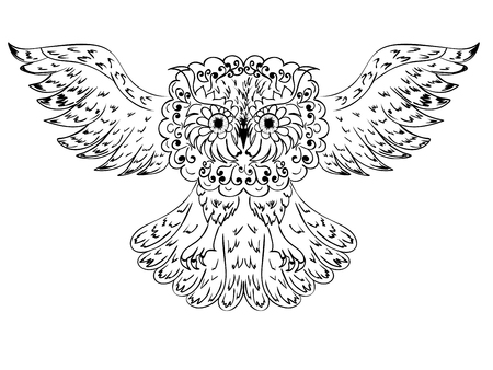 head wise: Decorative graphic owl with abstract ornament illustration. Illustration