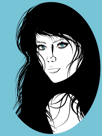 black hair blue eyes: Simple black and white portrait of a girl with blue eyes. Illustration