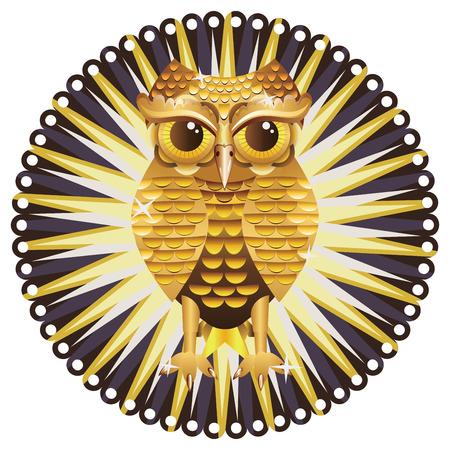 stuffed animal: Decorative metal owl illustration, cute owl made of gold.