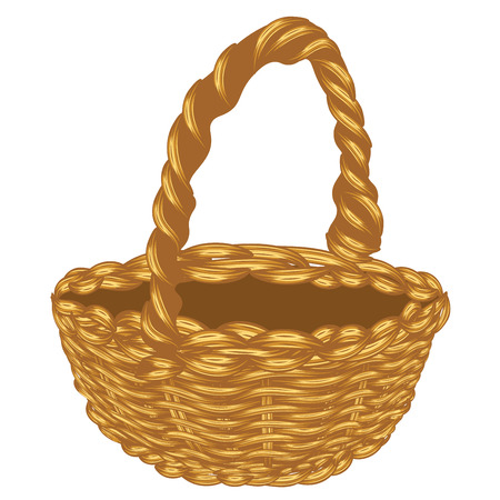 wicker: Illustration of brown wicker basket on white background.