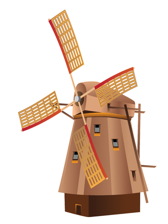 windmill: Illustration of old wooded windmill isolated on white background.
